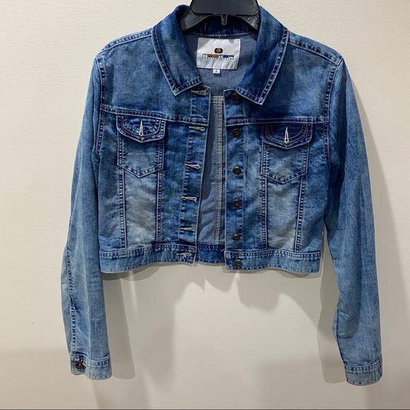 Jackets & Blazers - EMBELLISHED SHORT BLUE JEANS DENIM JACKET
